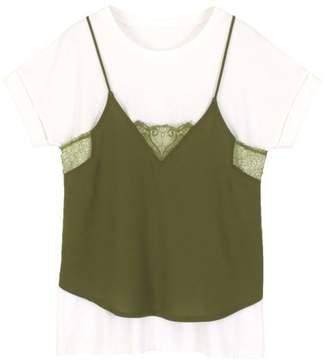 titivate (ティティベイト) - titivate Vネックレースキャミソール&ゆるTシャツセット