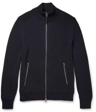 Tom Ford Ribbed Merino Wool Zip-Up Cardigan - Men - Navy