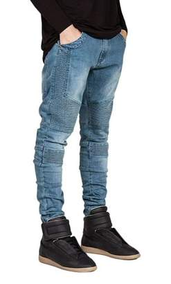 OCDAY Trendy Designed Straight Pants Casual Men Jeans Slim Elastic Denim Trousers