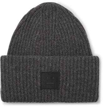 Acne Studios Ribbed Wool-Blend Beanie - Charcoal