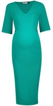 Dorothy Perkins Womens **Maternity Green Button Tab Detail Bodycon Dress