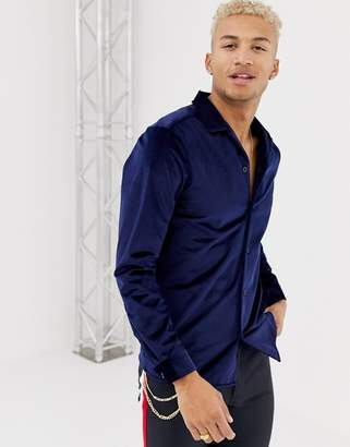 b3d31dbae6d Asos Design DESIGN regular fit velour shirt in navy with revere collar