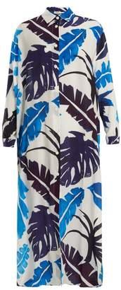 Kalmar - Point Collar Palm Print Silk Crepe De Chine Kaftan - Womens - White Multi