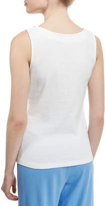 Joan Vass Sleeveless Chain-Trim Tank, White, Petite