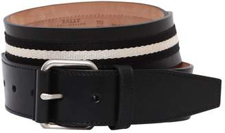 Bally 40mm Saffiano Leather Belt W/ Stripes