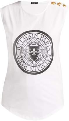 Balmain Glittered coin-print cotton-jersey tank top