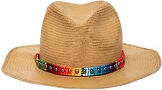 Round Straw Hat W/ Studs