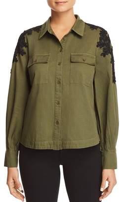 Bloomingdale's Marled Lace-Shoulder Military Top