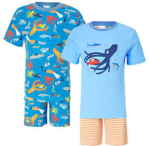 Children's Under the Sea Shortie Pyjamas, Pack of 2, Blue