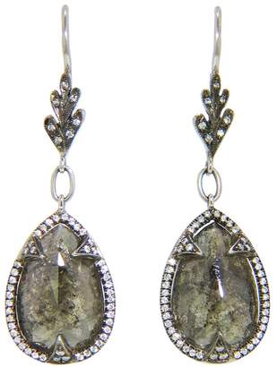 Cathy Waterman Rustic Diamond Pave Frame Earrings - Platinum