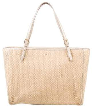 Tory Burch Woven Straw Metallic Tote