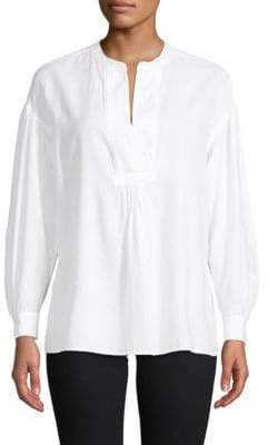 Vince Split-Neck Cotton Blouse