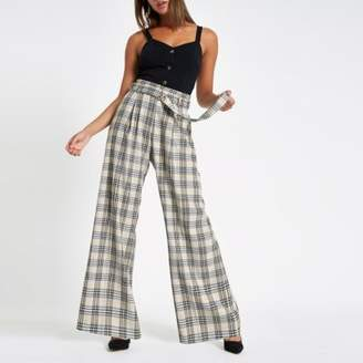 River Island Cream check wide leg belted pants