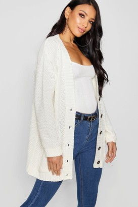 boohoo Daisy Cable Boyfriend Button Up Cardigan