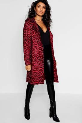 boohoo Leopard Print Suedette Trench