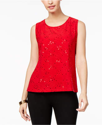 JM Collection Petite Sequined Jacquard Shell