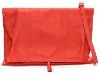 Daniel Match Large Red Leather Rouched Clutch Bag