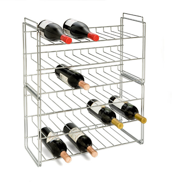 Container Store 18-Bottle Chrome Stacking Wine Rack