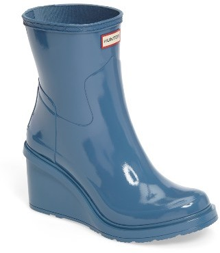 Women's Hunter Original Refined Wedge Rain Boot $195 thestylecure.com