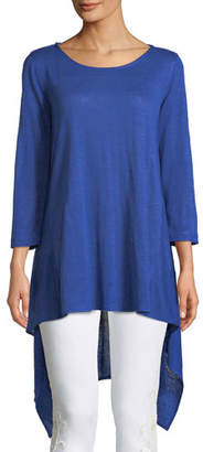 Caroline Rose Long-Sleeve High-Low Linen Tunic, Plus Size