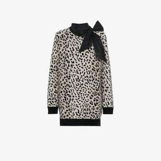 Valentino cashmere leopard bow jumper