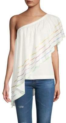 Primrose One-Shoulder Cotton Ruffled Top