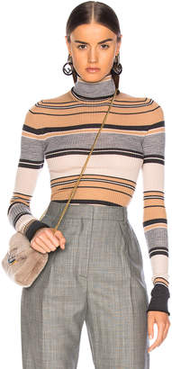Acne Studios Striped Turtleneck Knit Top in Camel & Grey | FWRD