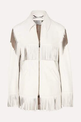 Stella McCartney Fringed Faux Leather Jacket - White