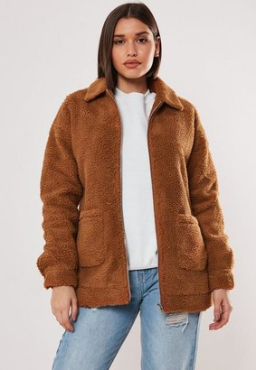 Missguided Rust Oversized Borg Zip Through Teddy Jacket