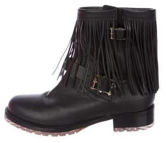 Valentino Leather Fringe Ankle Boots