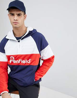 Penfield Block Overhead Hooded Jacket Front Logo in Navy/White/Red