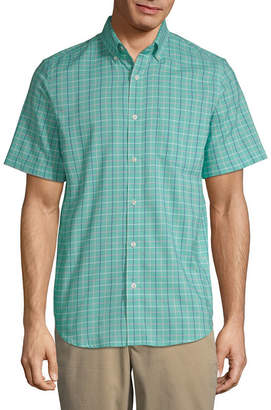 ST. JOHN'S BAY Short Sleeve Grid Button-Front Shirt-Slim