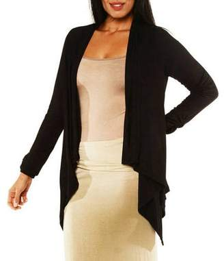 24/7 Comfort Apparel Women's Plus Size Long Sleeve High-Low Shrug