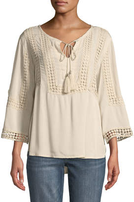 KUT from the Kloth Miyo Crochet-Trim Peasant Blouse