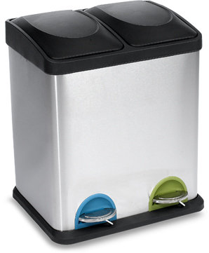 Stainless Steel Two-Compartment 30-Liter Recycling Bin