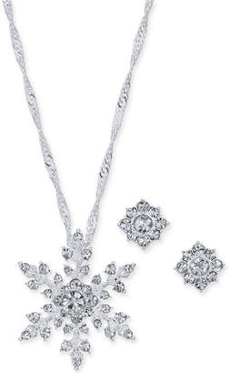 "Charter Club Silver-Tone Crystal Snowflake Pendant Necklace and Stud Earrings Set, 17"" + 2"" extender"