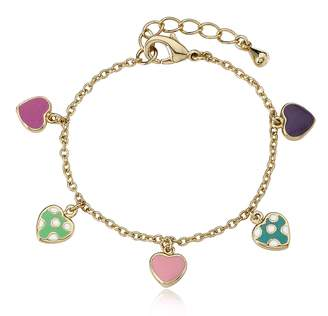 """Little Miss Twin Stars I LOVE My Jewels 14k Gold-Plated Multi Color Hearts Charm Bracelet/ 5.5""""/Ext"""