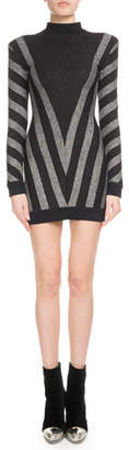 Balmain High-Neck Long-Sleeve Metallic Chevron Knit Cocktail Dress