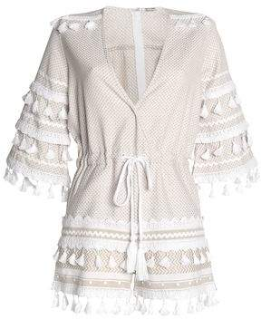 Dodo Bar Or Embellished Houndstooth And Woven Cotton Playsuit