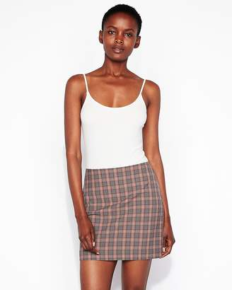 Express High Waisted Windowpane Plaid Straight Mini Skirt