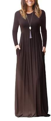 ESONLAR Womens Casual Long Floor Dress Solid High Waist Pleated Loose Fit Maxi Dress