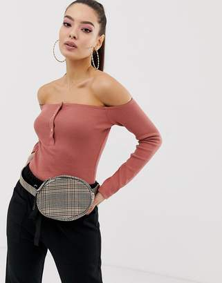 Missguided popper front ribbed bardot body in pink