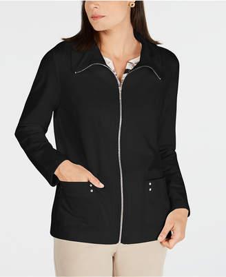 Karen Scott Sweatshirt-Knit Jacket