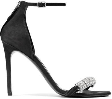 CALVIN KLEIN 205W39NYC - Camelle Crystal-embellished Suede Sandals - Black