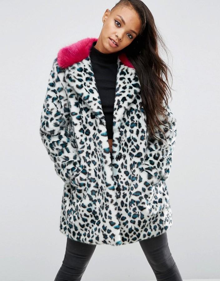 AsosASOS Faux Fur Coat in Leopard Print with Contrast Collar