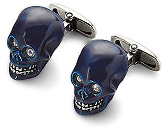 Aspinal of London Sterling Silver White Enamel Skull Cufflinks In White