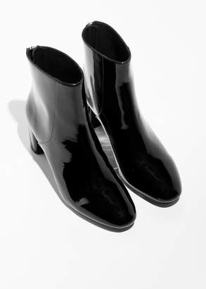 Patent Leather Zip Boots