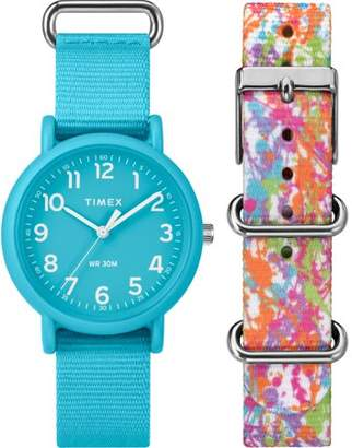 Timex Unisex Weekender Color Rush Blue/Splash Box Set