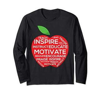 Teach Inspire Teacher Apple Long Sleeve Shirt