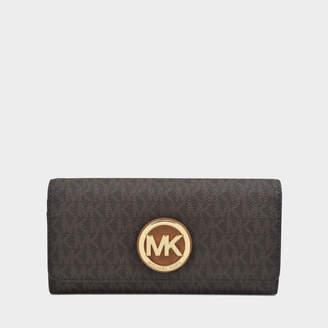 MICHAEL Michael Kors Fulton Large Gusset Carryall Wallet in Brown Saffiano Calfskin